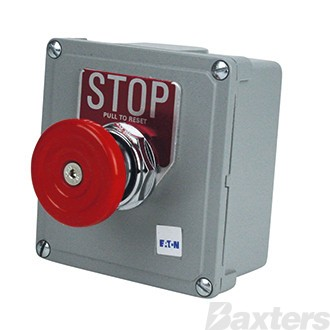 Emergency Stop Switch Eaton Push Pull Normally Open Contact Normally Closed Contact Metal Enclosure Red Hammer Stop Head