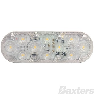9-32V 10 LED IP67 oval 165 x 57mm clear lens kit with grommet & plug LUMENX