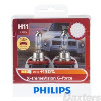 Philips Halogen Globe H11 12V 55W PGJ19-2 X-TremeVision Gforce 3500K +130% More Light 10G Blister Pack Twin