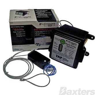 Trailer Breakaway Complete Kit. Activates trailer brakes upon separation from vehicle. Includes Charger & Brakeaway Switch. Easy To Read LED Battery Meter