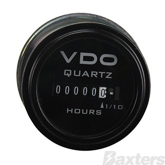 Gauge Hourmeter VDO 10-80V 52mm Black Bezel