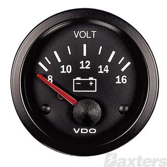 Gauge Voltmeter VDO 8-16V 52mm Steel Housing