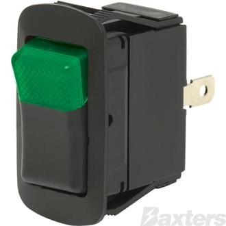 Rocker Switch ON/OFF Illuminated Pilot LED Green