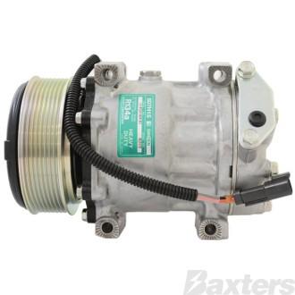 Compressor Sanden 8203 Suits JCB SD7H15 12V 8PV 120mm V/Pad 51° Direct Mount Short WP Head Jcb Vm115