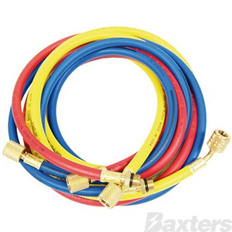 "Charge Hose Set R134a 72"" Hoses x 3 (Red x 1 Blue x 1 Yellow) No Anti Blow Back"