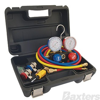 "Manifold and Gauge Set R134a With 72"" Hoses, Couplers and a Sturdy Carry Case"