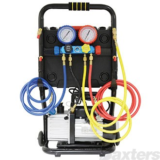 """Charging Station Portable With Scales 128L 2 Stage Vacuum Pump Manifold Gauge Set with 72"""" Hoses R134a Couplers"""