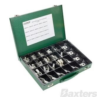 Battery Lug Kit - 20 popular lugs, 85 pcs in total ranging from 8 to 000 B&S in metal refillable trademan's case