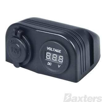 DC Socket & Voltmeter Mount [ DC Socket 6 - 30VDC]; [Voltmeter 5 - 30VDC]