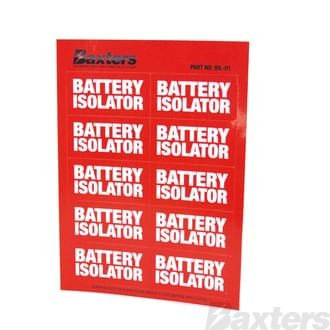 Label Battery isolator Red [10 Pcs Per Sheet]