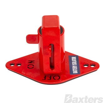 Battery Isolator Lockout Red With Cut Out ON /OFF Lettering