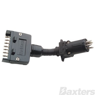 Trailer Wiring Adapter with 7 Pin Flat Plug to 7 Pin Small Round Plug
