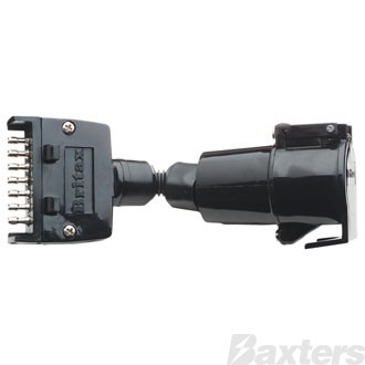 Trailer Adaptor Connects 7 Pin Flat Plug on Vehicle to 7 Pin Round Socket on Trailer