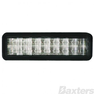 10-30V Amber/White LED Rect 159 x 49mm Clear Lens Gromment Mount Horizontal LEDLink