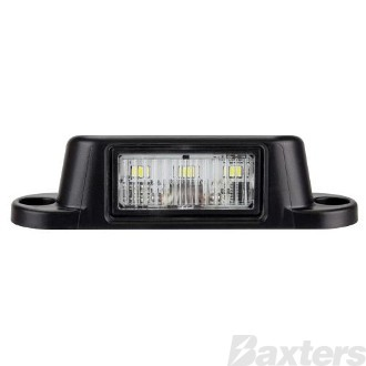 Licence Plate Light LED 10-30V 4 LED Surface Mount Black Body Blister Packed