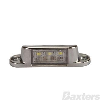 Licence Plate Light LED 10-30V 4 LED Surface Mount Chrome Body Blister Packed