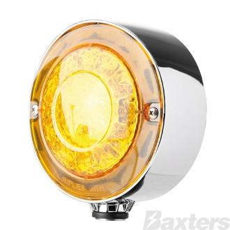 LED Indicator Lamp Fender 170 Series 10-30V 15+15 LED Round 137 x 179mm Amber Lens Single Bolt Mount ADR