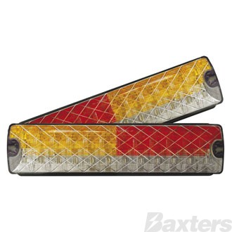 LED Rear Combination Lamp Kit BR200 Series 10-30V Stop/Tail/Ind/Rev 204 X 40mm Strip Surface Mount Twin Pack