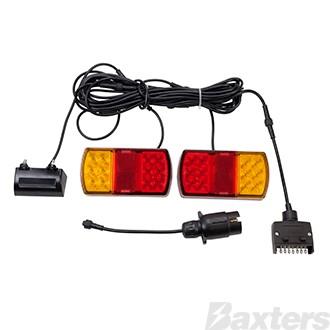 12V Stop/Tail/Ind/Ref/Lic Rect 150 x 80mm + BR25B + 7TPF + 7TPR 8X5 Trailer Kit with LEDLink Harness