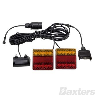 12V Stop/Tail/Ind/Ref/Lic Square 100 x 100mm + BR25B + 7TPF + 7TPR 6X4 Trailer Kit with LEDLink Harness