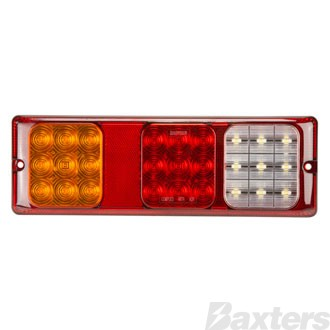 LED Rear Combination Lamp 10-30V Stop/Tail/Ind/Rev 300x100x20mm Surface Mount