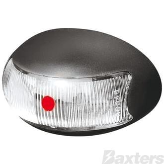 10-30V 2 LED Oval 60 X 37MM Clear Lens Black Base 0.5MT Cable Blister Pack