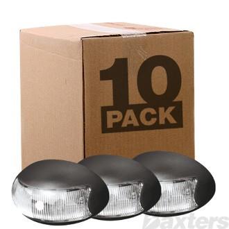 10-30V 2 LED Oval 60 X 37mm Clear Lens Black Base 2.5MT Cable Bulk Pack of 10