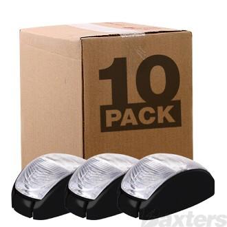 10-30V 2 LED Oval 60 X 35MM Clear Lens Black Base 2.5m Cable Bulk Pack of 10