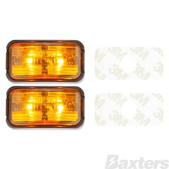 Clearance Light LED Amber BR7 Series 10-30V 50x25mm Amber Lens Self Adhesive Mount 0.5m Cable Twin Pack