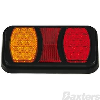 LED Rear Combination Lamp BR80 Series 10-30V Stop/Tail/Ind Square IP67 197 x 107mm Twin Pod Surface Mount