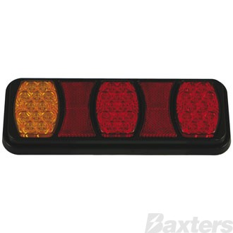 LED Rear Combination Lamp BR80 Series 10-30V Stop/Tail/Ind IP67 288 x 107mm Triple Pod Surface Mount Blister Pack