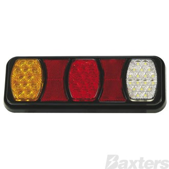 LED Rear Combination Lamp BR80 Series 10-30V Stop/Tail/Ind/Rev IP67 288 x 107mm Triple Pod Surface Mount Blister Pack