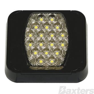 LED Reverse Lamp 10-30V 20 LED Rect 102 x 94mm Clear Lens Surface Mount