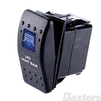 Switch Rocker 12V 20A 24V 10A OFF/ON Bar Light Symbol Blue Illumination