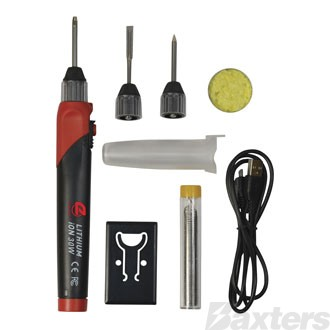 Rechargeable Lithium Soldering Iron Kit 30W, includes Case, Tips and Solder
