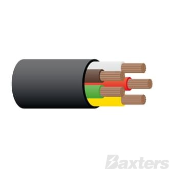 3mm 5 Core Trailer Cable - Black 30m