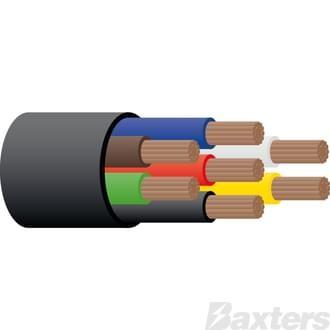 6mm 7 Core Trailer Cable - Black 100m
