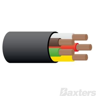 2.5mm 5 Core Trailer cable - Black 100m