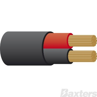 8 B&S Twin Sheathed Battery Cable - Red/Black 30m