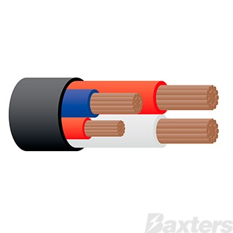 Cable 4 Core 2 x 6mm, 1 x 5mm, 1 x 3mm, 100M