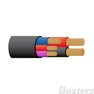 Composite Cable 5 Core 2 x 6 B&S[Black & Red]; 1 x 5mm[Blue]; 2 x 3mm[Red & Violet]