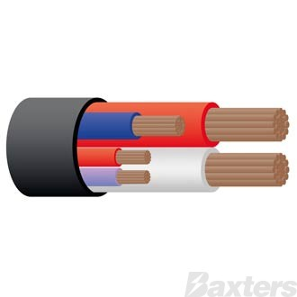 Cable 5 Core Sheathed- 8 B&S Red/White, 5mm Blue x 1, 3mm Red x 1, 3mm Violet x 1 50 Metres