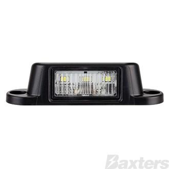 Licence Plate Light LED 10-30V 4 LED Surface Mount Black Body Bulk Packed