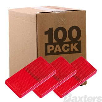 Reflector Adhesive Red Rect 65 x 30 x 8mm Bulk Pack of 100
