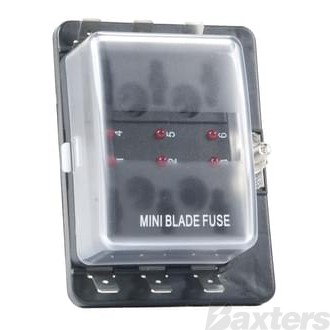 Fuse Box Mini Wedge Fuse Type 6 Block With LED Indicator When Circuit Becomes Open