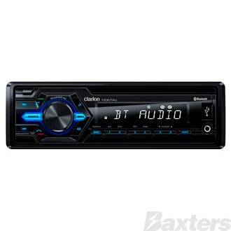 Clarion 12V AM/FM Audio Reciever with Bluetooth USB/AUX/SD/MP3/WMA Input Built In 4 x 45 Watt Amplifier OEM Steering Wheel Remote Ready Single DIN Size Wireless Remote Control Included
