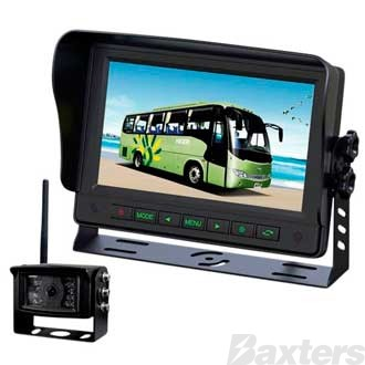 Gator Wireless Rear View Camera Kit 12/24v 7 Inch Monitor, 1-2 Wirless Camera Compatible + 1 Wired (Inc 1 x Camera)