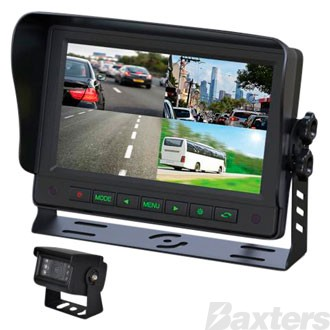 Gator Rear View Camera Kit 12/24v 7 Inch 1-4 View Split Screen Monitor 1-4 Camera Compatible Kit Inc 1 x Camera And 1 x 10 Metre Cable Trade Series
