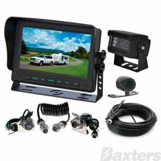 Gator Rear View Camera Trailer  Kit 12/24v 7 Inch 1x Trailer Camera 1x Car Camera & 1 x 10 Metre Cable Trade Series