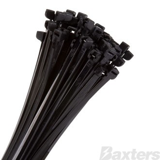 Metal Tongue Cable Ties Black 290 X 4.5mm (Pkt Of 100)
